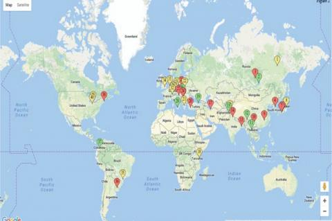 An overview of places in world where wild specimens of Laetiporus sulphureus have been used for research