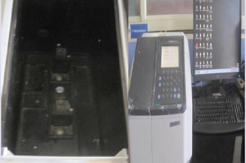 Shimadzu UV-Visible Spectrphotometer with quartz cuvettes and digital display